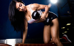 Обои woman, brunette, dumbbell, gym, fitness, muscles, sportswear