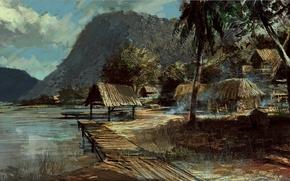 Обои пальмы, горы, арт, Battlefield, Bad Company 2, берег, лачуги, рисунок, озеро, пейзаж