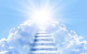 Картинка небо, солнце, облака, лучи, голубое, лестница, ступени