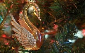 Картинка праздник, игрушка, новый год, рождество, лебедь, ёлка, украшение, хвоя