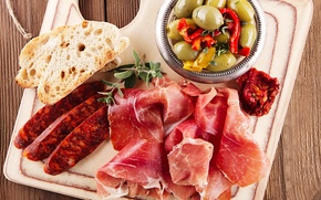 Картинка фото, еда, хлеб, овощи, колбаса, ветчина, продукты, мясные