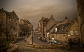 Картинка дорога, машины, улица, дома, Шотландия, Стерлинг, Боу-Стрит