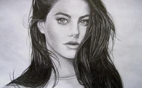 Картинка глаза, взгляд, девушка, лицо, волосы, карандаш, живопись, Kaya Scodelario