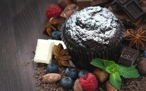 Картинка белый, ягоды, малина, черный, шоколад, орехи, мята, миндаль, фундук, кекс, голубика, молочный, бадьян, маффин