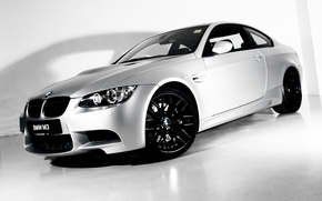 Картинка серый, bmw, бмв, купе, тень, спорткар, диски, coupe, передок, competition edition