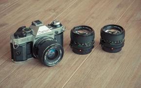 Картинка camera, wood, lenses, Canon
