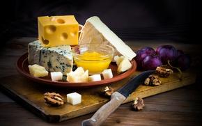 Картинка ягоды, сыр, мед, виноград, нож, доска, орехи, мёд