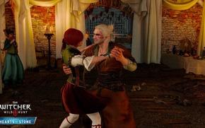 Обои Каменные Сердца, Геральт, Шани, танец, (Витольд фон Эверек), DLC, девушка, The Witcher 3: Wild Hunt, ...