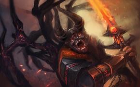 Картинка крылья, меч, демон, арт, рога, Dota 2, Doom, Lucifer, SunnyJu