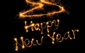 Картинка новый год, огоньки, слова, happy new year? счастливого нового года