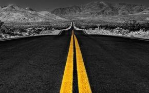 Картинка желтый, фото, Дорога, шоссе, каньон, белая, черно