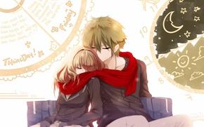 Картинка девушка, часы, аниме, шарф, арт, пара, парень, дневник, hews