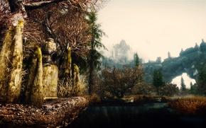 Обои природа, замок, скалы, камень, игра, рендер, скайрим, The Elder Scrolls 5 Skyrim