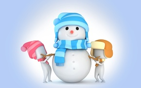 Обои snowman, 3d, winter, snow, kids, cute, christmas, new year