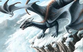 Картинка зима, горы, фентези, дракон, лавина