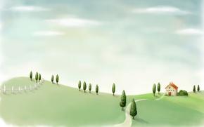 Обои забор, рисунок, дом, поле, деревья, дорожка, пейзаж