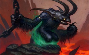Обои Hearthstone, Imp Gang Boss, Главарь банды бесов, WoW, бес, World of Warcraft, рисунок, лава, Blackrock ...