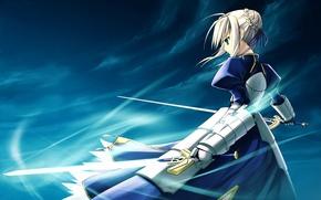 Картинка девушка, фон, ветер, меч, арт, saber, fate/stay night, type-moon