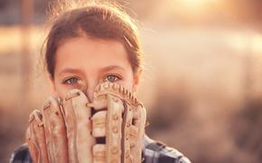 Картинка спорт, девочка, перчатка, baseball