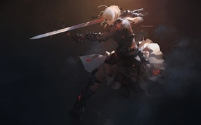 Картинка девушка, меч, аниме, арт, Fate/Stay Night, Сейбер