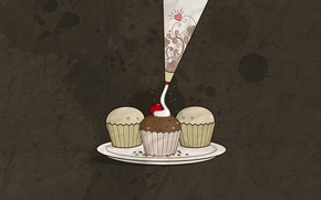 Картинка вишня, минимализм, торт, крем, пирожные, коричневый фон