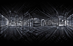 Обои стройка, свет, отражение, опоры