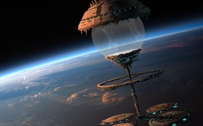Картинка космос, облака, корабль, планета, шар, станция, атмосфера, арт, сфера, maxime duchamp