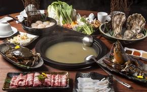 Картинка краб, суп, омар, кальмар, морепродукты, ассорти, моллюски
