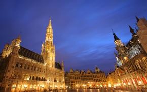 Картинка ночь, город, площадь, Брюссель, Grand Place, Brussels
