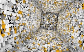 Обои плитка, куб
