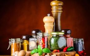 Картинка грибы, банка, перец, пряности, специи, mushrooms, Spices, Pepper