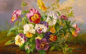 Картинка цветы, бабочка, божья коровка, Картина, живопись, пчелка