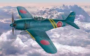 Картинка war, art, painting, ww2, japanese fighter, Kawanishi N1K-J Shiden (George)