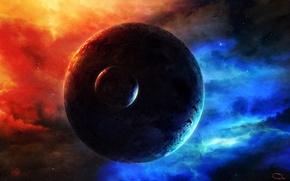 Картинка космос, звезды, туманность, планета, спутник, свечение, арт