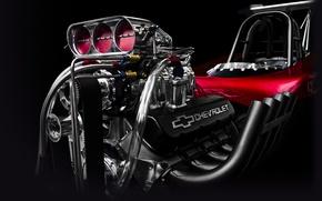 Обои chevrolet, corvette, хот род, двигатель, движок