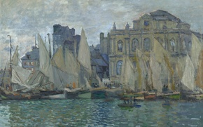 Картинка море, лодка, картина, парус, городской пейзаж, Клод Моне, Музей Гавра