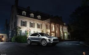 Картинка ночь, Porsche, серебристый, порше, night, кроссовер, silvery, Evano Gucciardo, Macan S, макан
