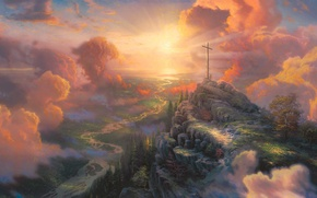 Картинка light, painting, The Cross, cross, sun light, Thomas Kinkade