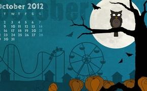 Картинка ночь, дерево, сова, луна, месяц, октябрь, тыква, хэллоуин, календарь, атракцион, филин, helloween, october