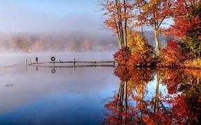Обои осень, озеро, мостик, туман, утро