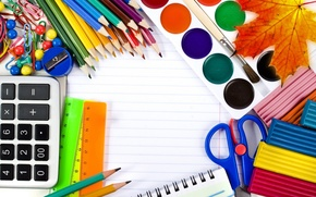 Обои краски, карандаши, школа, пластилин, 1 сентября