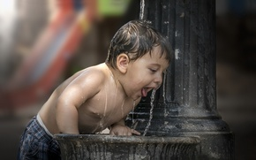 Картинка вода, мальчик, фонтан