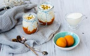 Картинка сливки, фрукты, крем, десерт, абрикосы, ложки, Panna cotta, Julia Khusainova