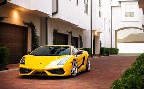 Картинка здание, Lamborghini, брусчатка, Superleggera, Gallardo, жёлтая, ламборджини, yellow, гаражи, ламборгини, галлардо, суперлегера