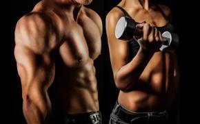 Картинка dumbbell, dumbbells, effort, hard work, bodybuilding man and woman