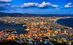 Картинка мегаполис, панорама, залив, побережье, Япония, Хакодате, Hakodate, море, облака