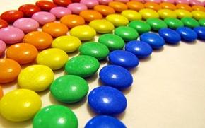 Картинка цвет, еда, радуга, конфеты, драже