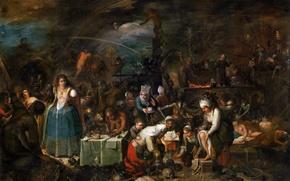 Картинка свечи, черти, черепа, ключи, жабы, ведьмы, шабаш, заклинания, Франс Франкен II, 1607, жертвоприношения, Ведьмовской шабаш, …