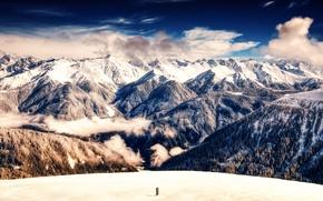 Картинка небо, облака, снег, горы, обработка