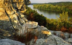 Обои берег, скалы, река